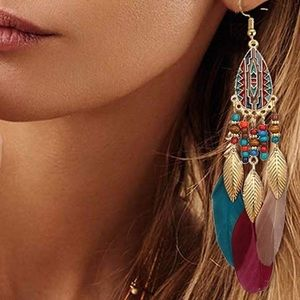 Jewelry - Feather Boho Feather Dangle Earrings NEW